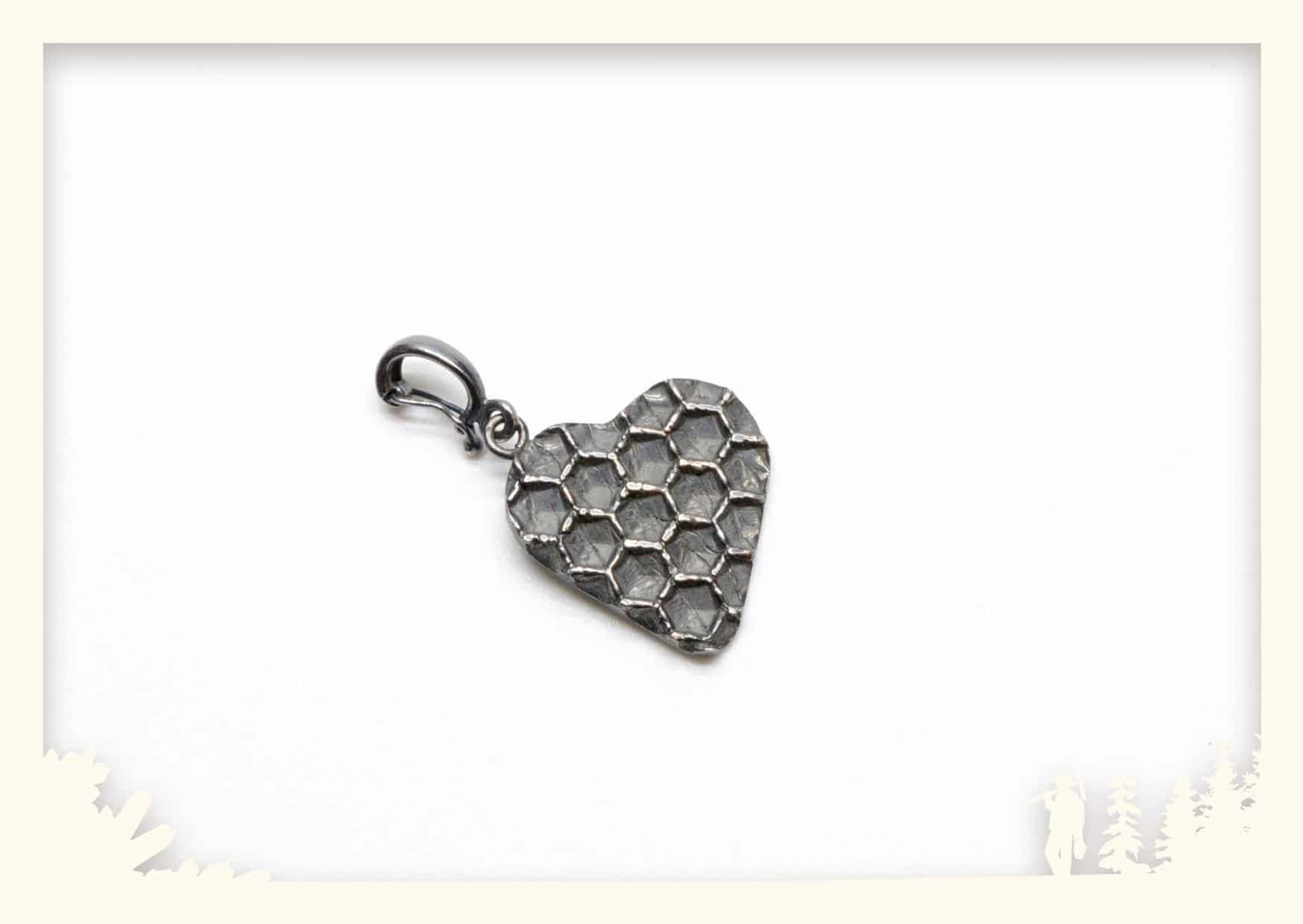 Anhänger Bienenwabe, Herzform, Silber 925 geschwärzt