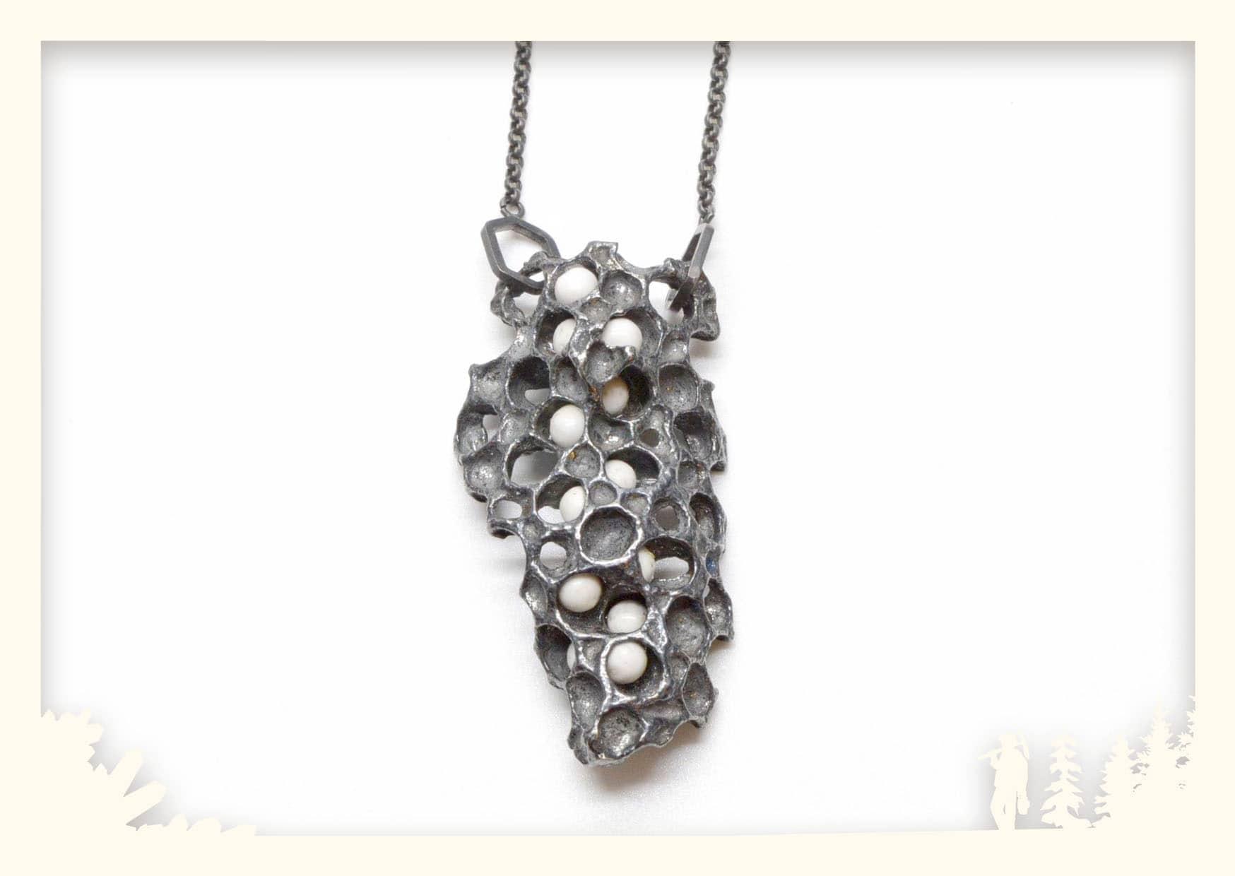 Kette Wilder Wabenbau, Silber geschwärzt