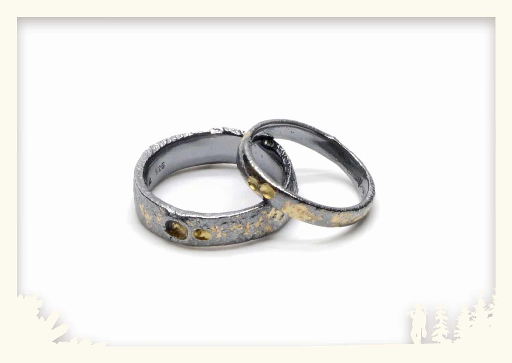 Ringe geschwärzt mit Gold Image